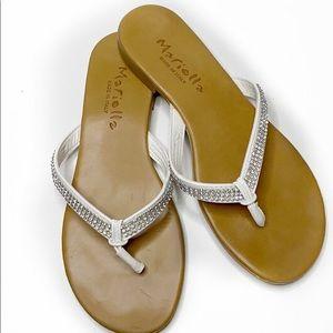 Mariella  Rhinestone White  Leather Sandal…